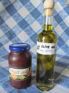 Olive oil and jam