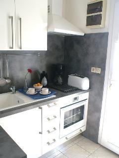 cuisine équipée : four micro-ondes, four à catalyse, réfrigérateur, congélateur, plaques