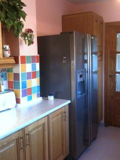 Fully equipped kitchen with American ice making fridge for cool drinks