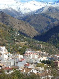 Guejar Sierra in Winter. Exterior of apartment can be seen top left of village.