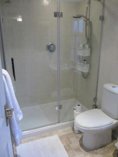 The top floor bathroom with walk in shower