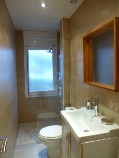 Second new bathroom suite also with heated towel rail and  rain shower Spa