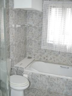Bathroom containing shower, toilet and bath