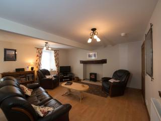 Living room with electric log burner, Freeview TV, iPod dock, DVD player