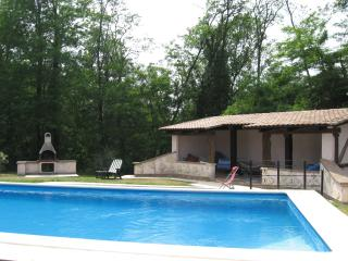 Swimming pool, pool house and bbq all in fully fenced area with garden furniture, parasols and toys.