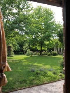 Casa Artuico: view of th garden from the bedroom door