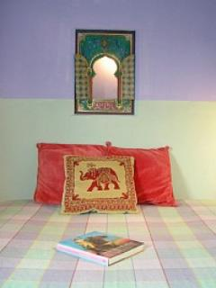 A detail of the smaller, Moroccan-style bed andd siesta room
