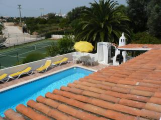 View roof terrace on private tennis court