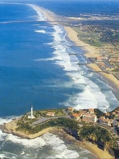 Aerial view of Anglet beaches and Biarritz light house