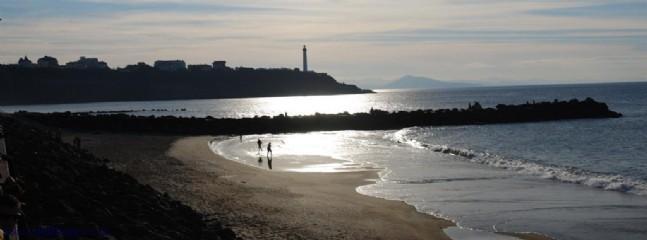 Marinella beach and Biarritz light house at sunset