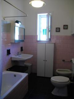 A bathroom on the first floor