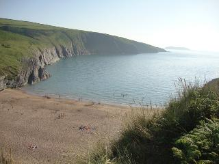 mwnt beach in the evening sunshine