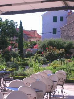 St Lovre Monastery garden café, 5 min from the apartment.