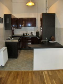 An Italian style kitchen. Burgundy and grey, with all mod cons at your disposal