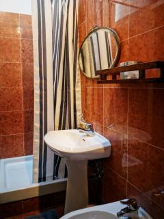 Small second bathroom features standing shower, bidet, and toilet