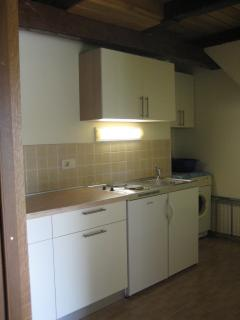 Kitchen with washing machine, microwave, fridge