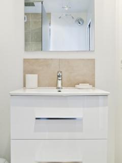 Salle de bain tout équipée : sèche cheveux, liseur
