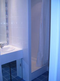 The fully tiled shower room with washing machine neatly hidden away.