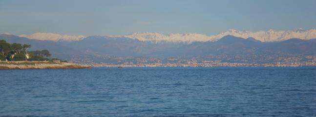 View of Cote D'Azur nestled under the French Alps