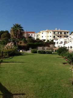 View across the lawn towards the pool