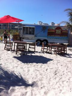 Food truck on beach