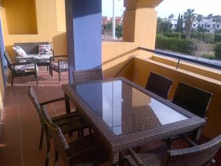 Double length balcony with outdoor furnishing