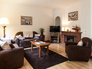 Large lounge with log burning fireplace