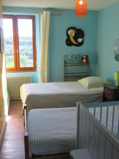 Cheerful children's room with beautiful view of valley