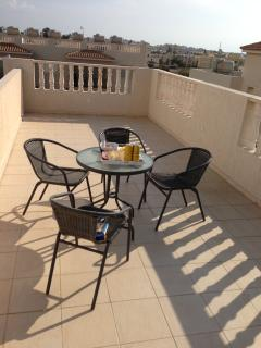 The Roof Terrace., prior to the arrival of four loungers and Barbecue