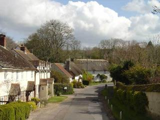 West Lane Cottage is on the left, set amongst thatched cottages