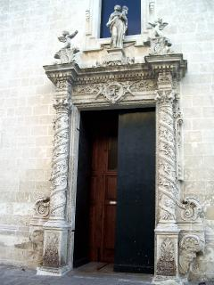 The door of one of many local churches