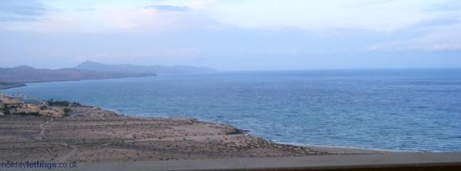 Panoramic view of beach and costa calma