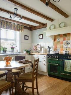 Willows` End bespoke country kitchen with Rangemaster cooker.
