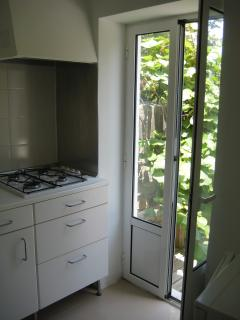 Kitchen with the door to the Deck