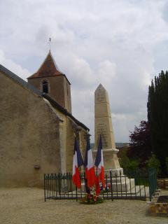 Memorial in village in front of church