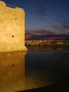 Pathos castle at sunset