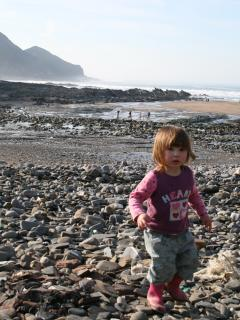 Playing on Crackington Beach