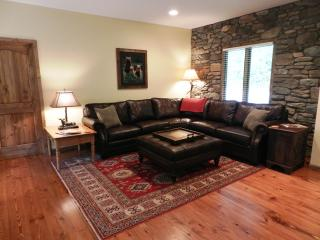 Living Area with leather sectional sofa