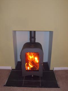 Wonderfully warm wood burning stove in living room