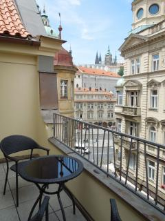 View of Prague Castle from the shared balcony on the 6 floor