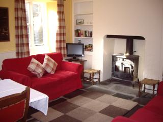 The sitting room with woodburning stove