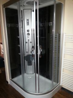 large shower with rainfall shower head