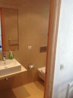Newly fitted wet room, power shower ,WC , hand-basin ,vanity unit.