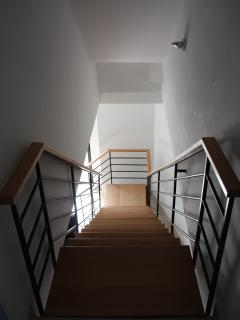 The staircase leading to the double bedroom