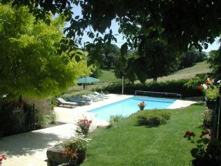The swimming pool with countryside views. Discretely fenced + lockable gates. Everything provided