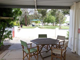 Enjoy park views on our patio while having a bbq