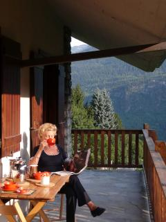 Mum on the Terrace having breakfast
