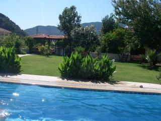 The refreshing 12.5 metre pool and gardens/Kosk and bar beyond.