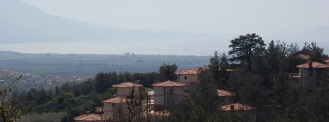 View of the sitisi showing Samos in the distance. Or villa is the middle one on the left