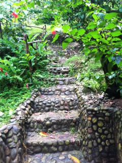 property's back steps (shortcut) to town